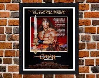 Framed Conan The Destroyer Arnold Schwarzenegger Fantasy Action Movie / Film Poster A3 Size Mounted In Black Or White Frame (Version -2)