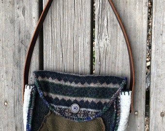 Knit Bag, Summer Knitted Festival BoHO Bag, Over the Shoulder Purse, Repurposed Up Cycled Sweater Bag