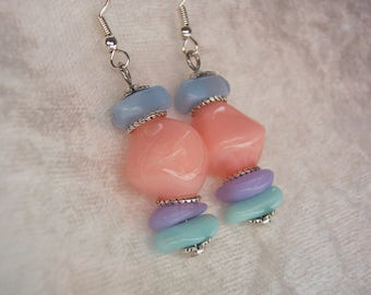 Pastel Earrings, Peach Earrings, Pastel Blue Earrings, Pastel Purple Earrings, Chunky Earrings, Dangle Earrings, Silver, Clip ons Available