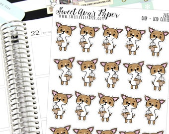 Iced Coffee Planner Stickers - Coffee Monday Planner Stickers - Caffeine Stickers - Dog Planner Stickers - Doodle Planner Stickers - 2022