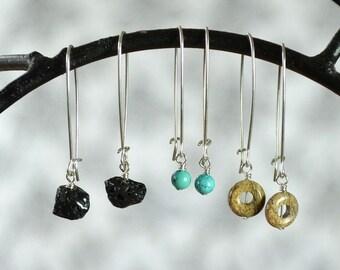 Interchangeable Earring Set, Black Lava Stone Earrings, Turquoise Earrings, Picture Jasper Earrings