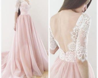 Blush wedding dress etsy wedding dress espana blush wedding dress wedding dress with sleeve more colors junglespirit Images