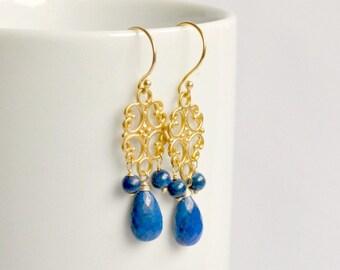 Lapis lazuli earrings, gold chandelier earrings, royal blue earrings, lapis lazuli jewelry