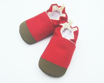 Organic Vegan Heavy Canvas Red with Brown / non-slip soft sole baby shoes / made to order / Babies Toddler Preschool