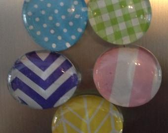 Pastel Patterns Refrigerator Magnets, Set of 5