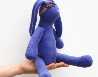 Stuffed bunny doll purple soft bunny toy with removable goggles cute stuffed rabbit hare softie plush bunny