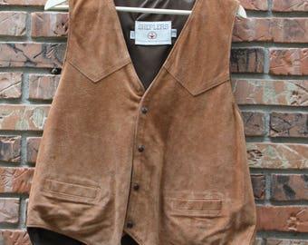 Shepler's Scully Suede Leather Western Vest Men's 44 Regular Vintage