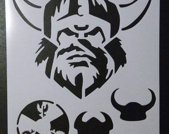 Vikings Viking Head Helmet Horns Shield Custom Stencil FAST FREE SHIPPING