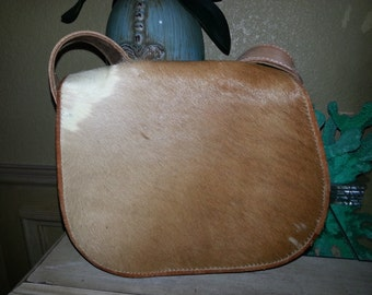 Great Vintage Genuine Caligaris of Paraguay Brown/Tan Calf Hair and Leather Trim Shoulder Bag Made in Paraguay /Vintage Boho Shoulder Bag