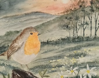 original Robin watercolour painting