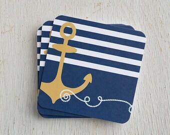 Nautical Gift, Nautical Decor, Lake Living, Ocean Living, Thank You, Hostess Gift, Paper Coasters, Nautical Life, Beach Life, Gift Under 15