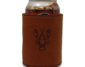 Lobster Leather Can Sleeve, Beer Sleeve, Beer Cooler, Beer Hugger
