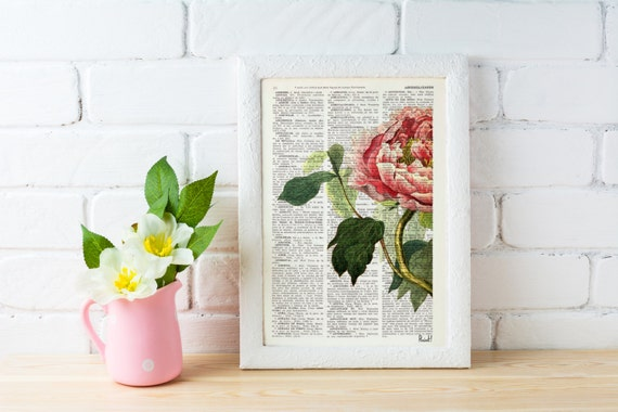 Peony Flower book print - Book print page - Upcycled book page wall art book print BFL122