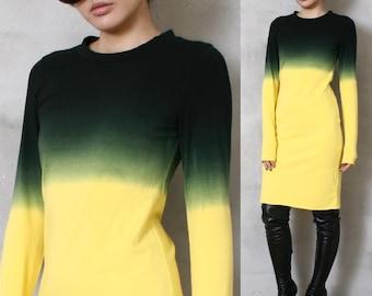 SALE 19.99 Cotton Punk Dip Tie Dye Gradient Ombre Long Sleeve Top T Shirt Dress Yellow