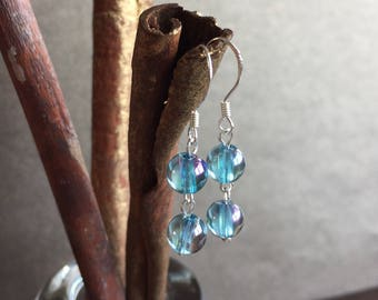 Aqua Aura Earrings, Aqua Aura and Sterling Silver Earrings