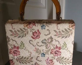 Vintage Dover Tapestry Purse with Tortoise Shell Lucite Handle