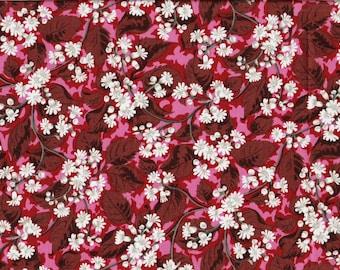 Tissu coton patchwork branchages de fleurettes blanches sur fond rouge et rose