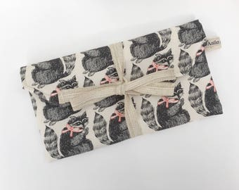 Raccoon DPN pouch, needle storage case, notions pouch, knitting pouch, crochet hook storage, project bags