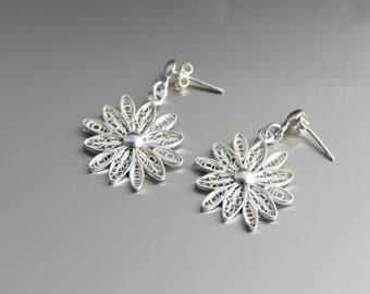 "Filigree Flower Earrings // Silver Earrings // White Earrings // Silver 970 // Filigree Jewelry //White Chandelier Earrings // 7/8"" Diameter"