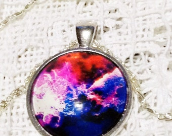 Galaxy Necklace For Him Nebula Necklace For Her White Jewelry Gift in Red Pink and Blue