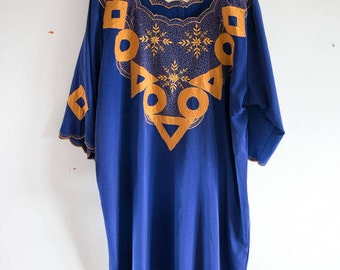 SALE 1970s Gold and Royal Blue Caftan Free Size