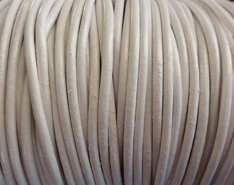 2mm White Leather Cord - Round - 2 Yard Increments