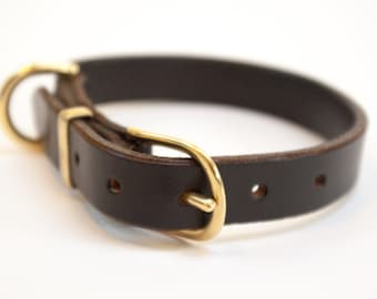 Leather dog collar hand stitched brown brass nickel plated fittings