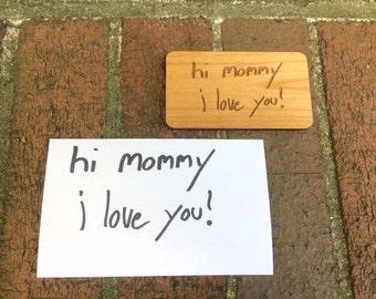 Custom Handwriting Engraved Wood Magnet