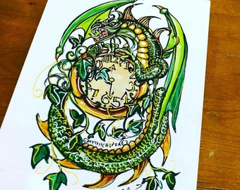 Train Station A5 watercolour illustration clock ivy dragon fairytale fantasy Mythicalponez ink painting surreal bizarre