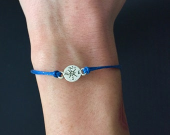 compass cord bracelet with clasp - wanderlust charm jewelry  - gifts under 10