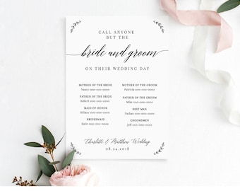 Call Anyone But the Bride Template, Wedding Contact Contact Card, Info / Phone Insert, 100% Editable Template, Instant Download #034-101CC