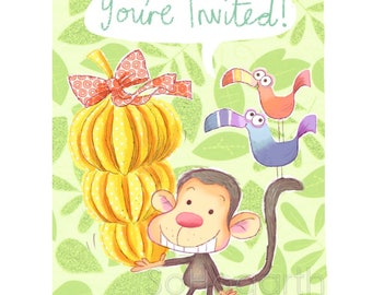 Monkey Birthday Party Note Cards Invitations [set of 6]. Blank Inside
