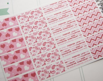 24 Planner Stickers Washi Valentine February Holiday Heart eclp PS362f Fits Erin Condren