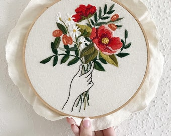 MADE TO ORDER / Spring Bouquet Embroidery / 8 inch embroidery / Folk Art