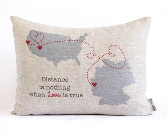 Customized Country to Country Map Pillow, State to State, Long Distance Relationship, Long Distance Friends, Gift for Him, Gift for Her