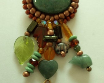 Vintage Jade Charm Brooch with Horse Charm