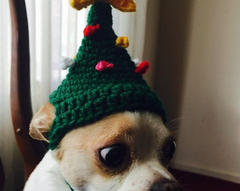 Crochet Dog Christmas Tree hat Petite Dog Clothes Designer Chihuahua Pet Accessories Handmade