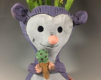 Nick the Opossum // Ice Cream // Mint Chip // Animal Planter // Succulent Pot // Handmade // Pothead // Small // Home Decor // Office Decor