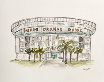 Miami Orange Bowl, Miami football, Hurricanes, Dolphins, stadium illustration, Archival Quality 8x10 print