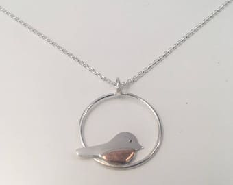 Silver and Copper Robin Pendant; handmade, mixed metal jewellery
