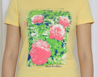 Banana Cream Four Color Floral Fitted Woman's Tee Medium