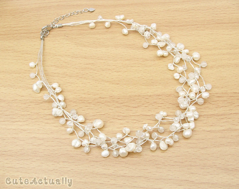 White freshwater pearl necklace with stone and crystal on silk