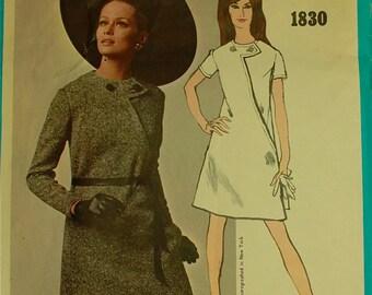 "Dress, Asymmetrical Front by Bill Blass - 1960's - Vogue Americana Pattern 1830  Size 14   Bust  34"""