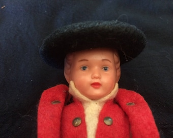 Vintage Celluloid Boy Doll, in National, Traditional, Ethnic Costume, Made in Germany - 1950