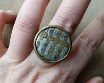 Round tricolor upcycled ring // adjustable// boho // hippie // fashionable// gift // brass// copper // silver// mother's day
