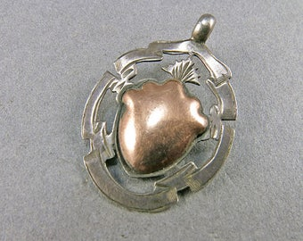 Antique Sterling Pendant Watch Fob Pendant With A 9ct Gold Wash Centre English Silver Antique Collectible Jewellery