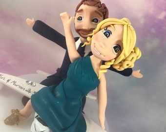 personalised flying/destination clay Wedding Cake Topper bride and groom