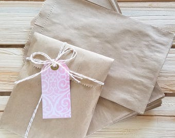 "20 kraft bags - 5 x 7.5"" inches - brown kraft bags - kraft merchandise bags"