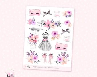 Pretty Girl Deco - 17 watercolor planner stickers