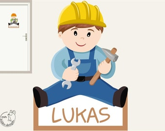 Wall decal workman door sign Construction worker, construction site, craftsman boy nursery